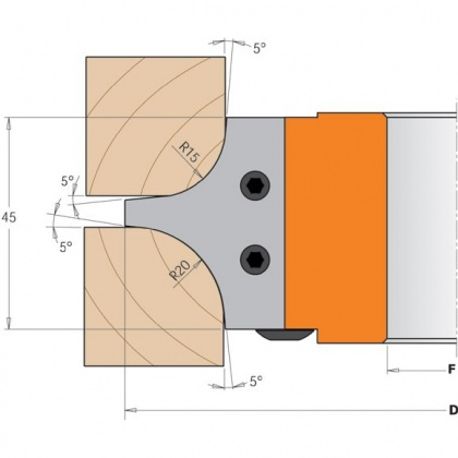 CMT C695 nůž pro C694003 pár žiletek R=15/20mm