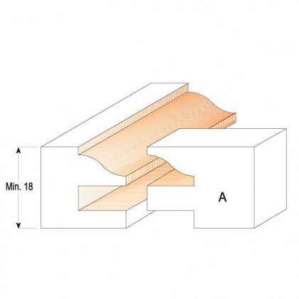 Sada fréz pro rám výplně SK  D44,4  T=18-22  Profil B  d=12mm