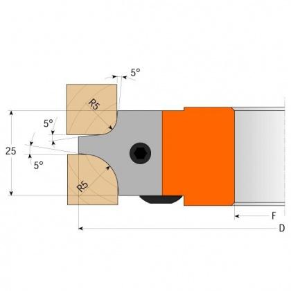 CMT C695 nůž pro C694003 pár žiletek R=4/8mm
