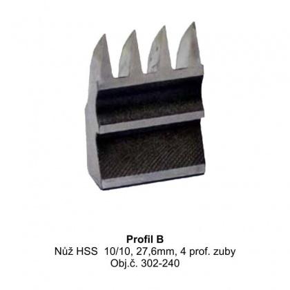 """Výměnný nůž HSS  10/10,  27,6mm, 4 profilové zuby """"B"""""""