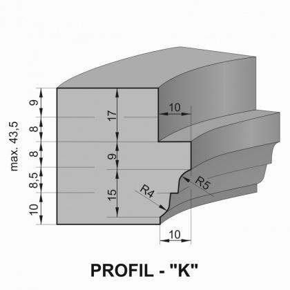 """Sada fréz na okenní křídlo s VBD - Profil """"K"""" - pro jednoduché zasklení"""