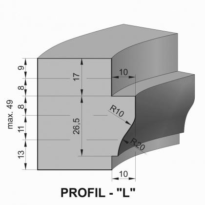 """Sada fréz na okenní křídlo s VBD - Profil """"L"""" - pro jednoduché zasklení"""