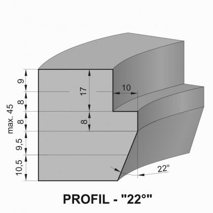 """Sada fréz na okenní křídlo s VBD - Profil """"22°"""" - pro jednoduché zasklení"""