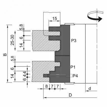 Sada fréz na dveřní zárubně s VBD 140x75,5x30  2z, 49104, pro těsnění 14mm